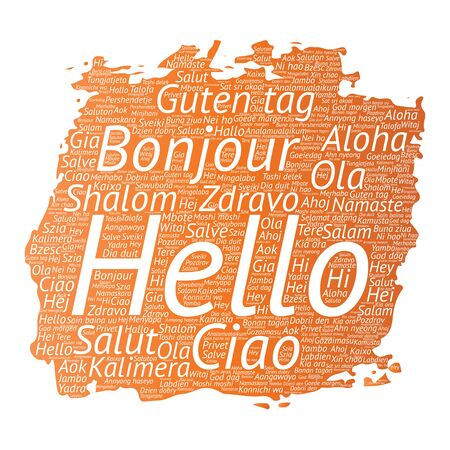 Vector concept or conceptual brush or paint hello or greeting international tourism word cloud in different languages or multilingual. Collage of world, foreign, worldwide travel, translate, vacation