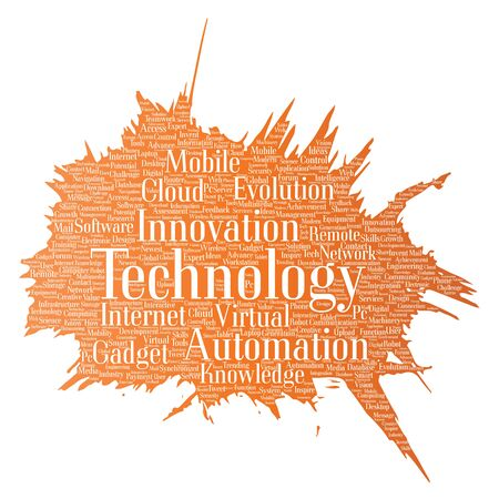 Vector conceptual digital smart technology, innovation media paint brush word cloud isolated background. Collage of information, internet, future development, research, evolution or intelligence