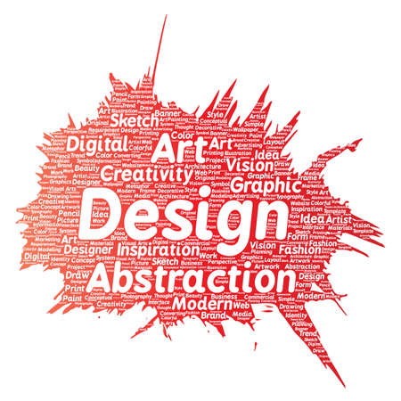 digital printing: Vector conceptual creativity art graphic identity design visual paint brush word cloud isolated background. Collage of advertising, decorative, fashion, inspiration, vision, perspective modeling Illustration