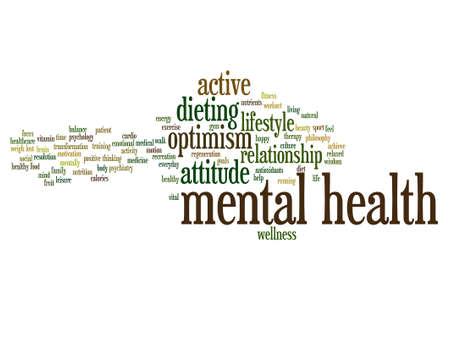 Vector conceptuele geestelijke gezondheid of positief denken woord wolk geïsoleerd Vector Illustratie