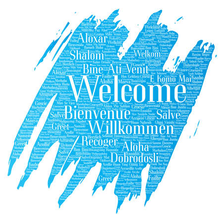 multilingual: Vector conceptual abstract welcome or greeting.