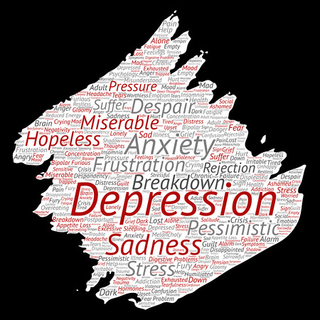Vector conceptual depression or mental emotional disorder problem paint brush or paper word cloud isolated background. Collage of anxiety sadness, negative sad, despair, unhappy, frustration symptom
