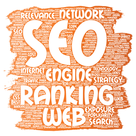 Vector conceptual search results engine optimization top rank, seo brush or paint online internet word cloud text isolated on background. Marketing strategy web page content relevance network concept Stok Fotoğraf - 87669152