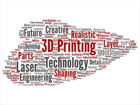 Concept or conceptual 3D printing creative laser technology word cloud.