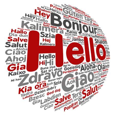 A vector conceptual abstract hello or greeting international word cloud in different languages. Çizim