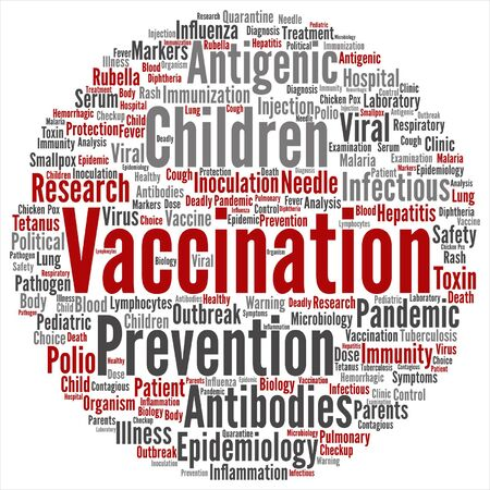 A vector concept children vaccination or viral prevention word cloud on white background.