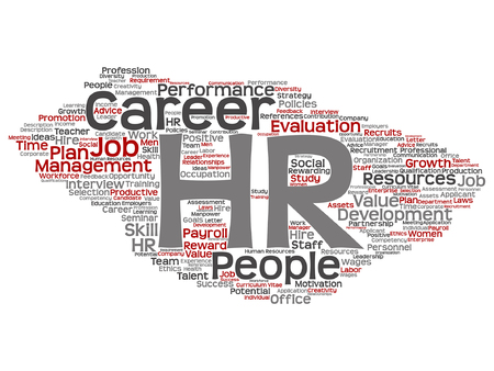 Concept conceptual hr or human resources word cloud.