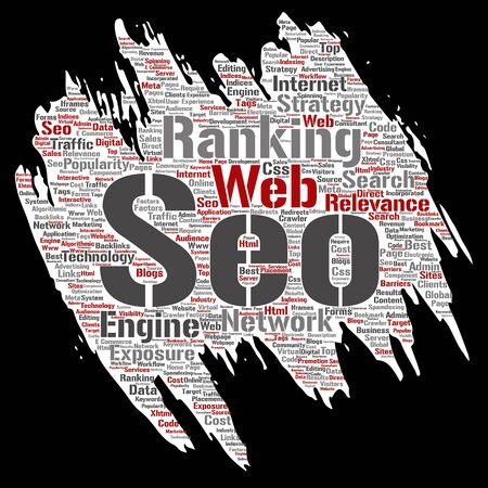 Vector conceptual search results engine optimization top rank, seo brush or paper online internet word cloud text isolated on background. Marketing strategy web page content relevance network concept