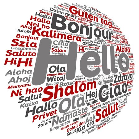 Vector conceptual abstract hello or greeting international word cloud in different languages Stok Fotoğraf - 87780186