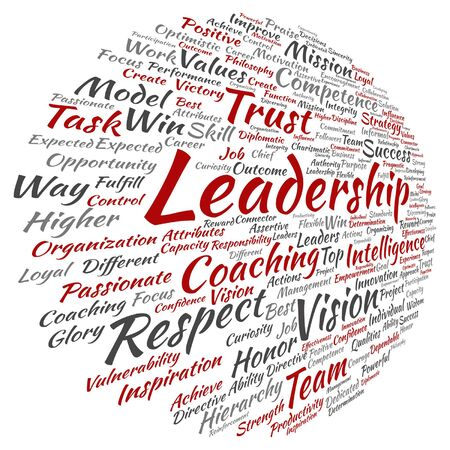 Vector concept or conceptual business leadership, management value word cloud isolated on background Illusztráció