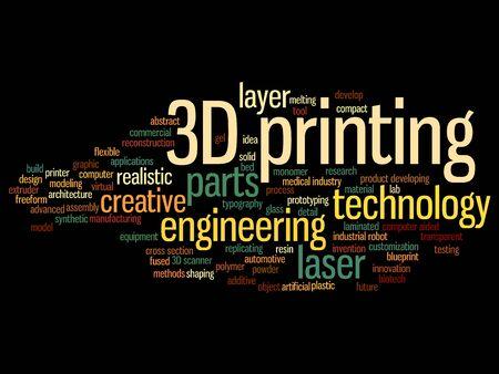Konzept oder konzeptionelle 3D-Druck kreative Laser-Technologie Wort Wolke auf Hintergrund isoliert Standard-Bild - 87784202