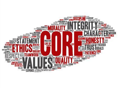 Conceptos básicos valores integridad ética concepto palabra nube aislados en segundo plano