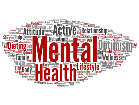 Vector conceptual mental health or positive thinking word cloud isolated Illustration