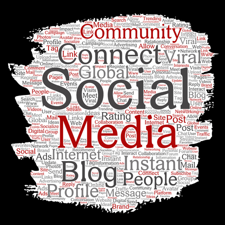Vector conceptual social media networking or communication web marketing technology brush or paper word cloud isolated on background. Illustration