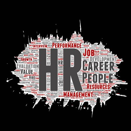 Vector concept conceptual hr or human resources career management brush or paper word cloud isolated background. Collage of workplace, development, hiring success, competence goal, corporate or job