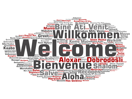 multilingual: Concept or conceptual abstract welcome or greeting international word cloud in different languages or multilingual. Collage of world, foreign, worldwide travel, translate, vacation tourism text