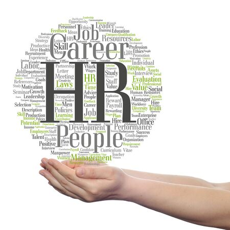 manpower: Concept conceptual hr or human resources management abstract word cloud in hand isolated Stock Photo
