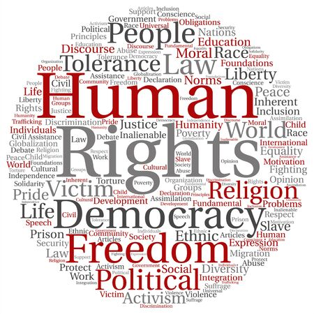 Concept or conceptual human rights political freedom or democracy round word cloud isolated on background metaphor to humanity world tolerance, law principles, people justice discrimination Stock Photo