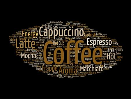 Creative hot coffee, cappuccino or espresso word cloud Illustration