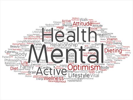 Geestelijke gezondheid of positief denkende woordwolk Stock Illustratie