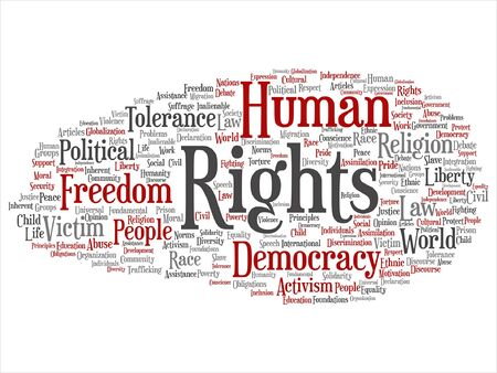 Human rights political freedom word cloud