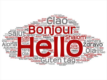 Hello or greeting international word cloud Stok Fotoğraf - 87895223