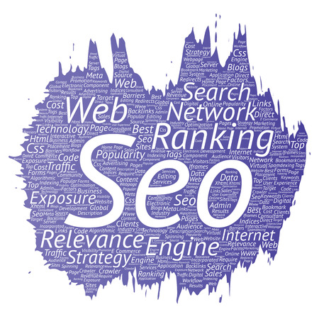 Conceptual search results engine optimization top rank, seo brush or paint online internet word cloud text isolated on background. Marketing strategy web page content relevance network concept