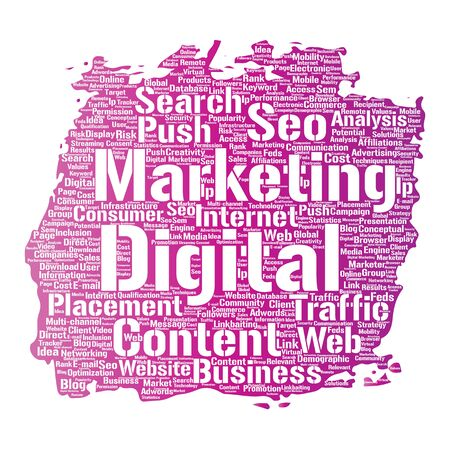 Vector concept or conceptual digital marketing seo traffic paint brush word cloud isolated background. Collage of business, market content, search, web push placement or communication technology Illustration