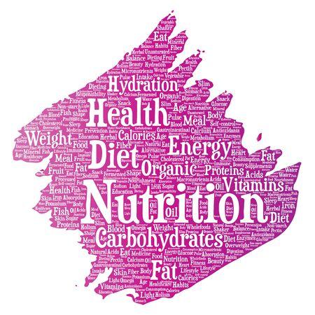 Nutrition health diet paint brush word cloud Ilustração