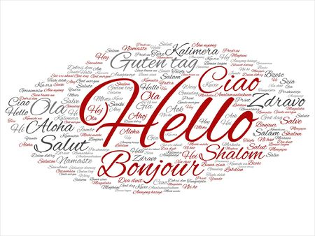 Abstract hello or greeting international word cloud Stok Fotoğraf - 87983189