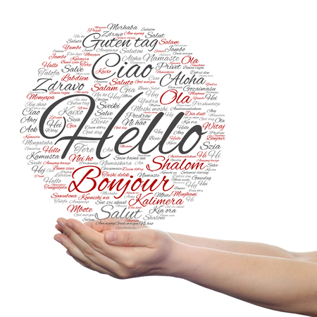multilingual: Concept or conceptual abstract hello or greeting international word cloud on hands in different languages
