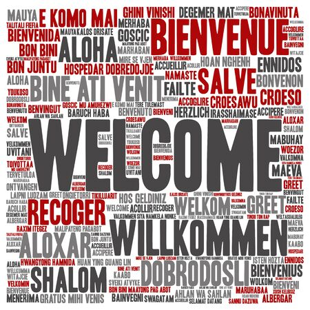multilingual: Concept or conceptual welcome or greeting international word cloud in different languages or isolated