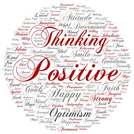 概念または概念肯定的な思考、幸せの背景に分離した強い態度の単語の雲