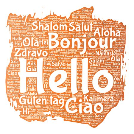 meet and greet: Vector concept or conceptual brush or paint hello or greeting international tourism word cloud in different languages or multilingual. Collage of world, foreign, worldwide travel, translate, vacation