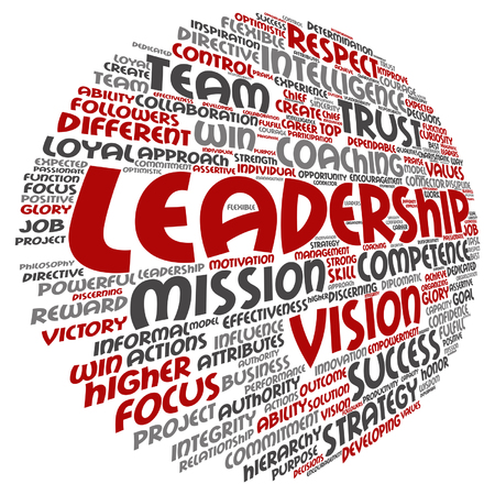 Conceptual business leadership or management circle word cloud design template.