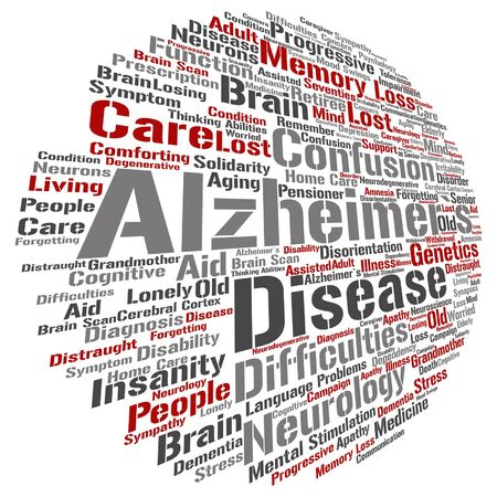 delusional: Vector conceptual Alzheimer`s disease symtoms abstract word cloud isolated