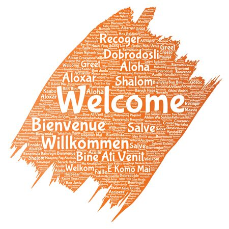 Vector conceptual abstract welcome or greeting international brush or paint word cloud in different languages or multilingual. Collage of world, foreign, worldwide travel, translate, vacation tourism Illustration