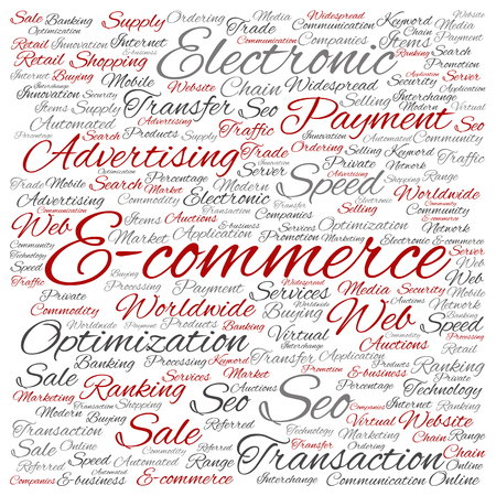 Concept or conceptual E-commerce electronic sales word cloud isolated on background Stock Photo