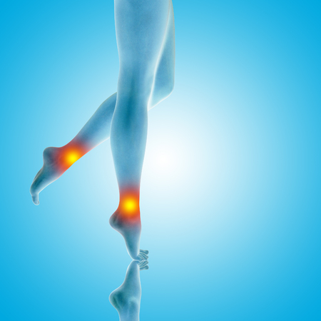 hot girl legs: Conceptual beautiful woman or girl legs and feet with a hurt ankle pain or ache closeup, 3D illustration of human slim fit body medical or health care concept, painful sport injury on blue background Stock Photo
