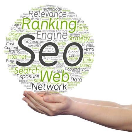 Concept or conceptual search engine optimization, seo abstract word cloud in hand isolated