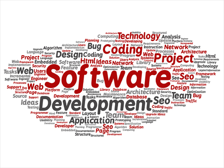 Conceptual software development project coding technology word cloud. Illustration