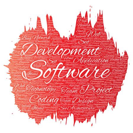 erp: Software word cloud concept.