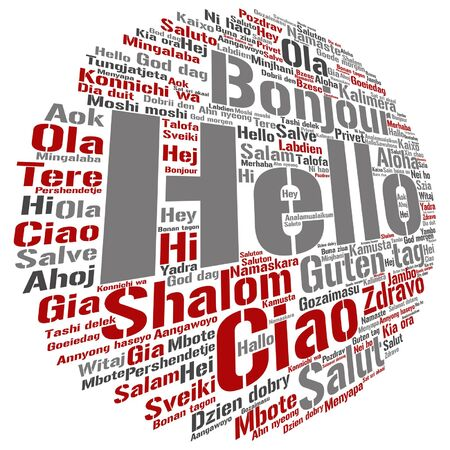 Vector concept or conceptual abstract hello or greeting international word cloud in different languages or multilingual metaphor to world, foreign, worldwide, travel, translate, vacation or tourism Çizim