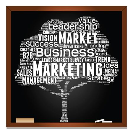 Vector concept or conceptual white tree on blackboard leadership marketing or business word cloud on black background wordcloud Illustration