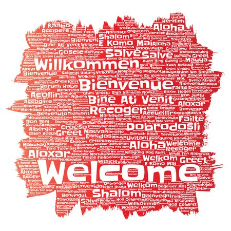 Vector conceptual abstract welcome or greeting international brush or paint word cloud in different languages or multilingual. Collage of world, foreign, worldwide travel, translate, vacation tourism Çizim