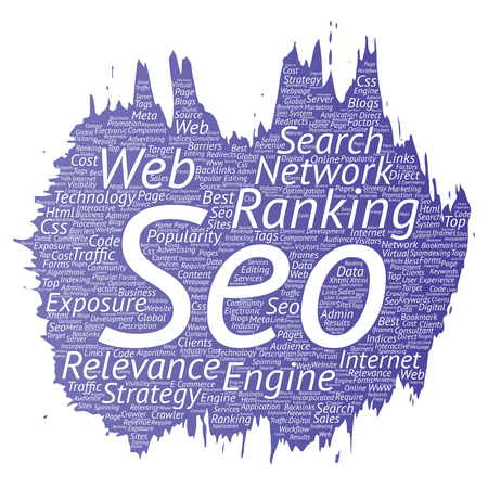 Vector conceptual search results engine optimization top rank, seo brush or paint online internet word cloud text isolated on background. Marketing strategy web page content relevance network concept