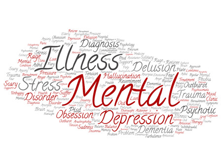 Conceptual mental illness disorder management or therapy word cloud isolated Stock Photo