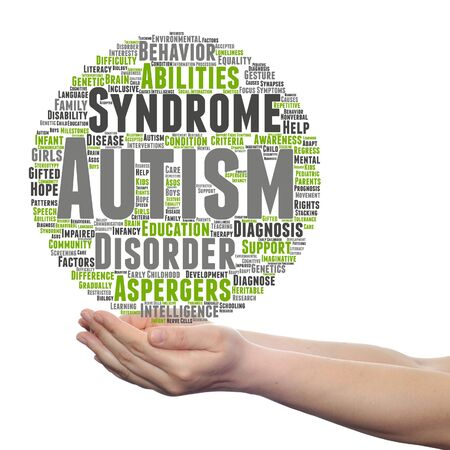 Concept or conceptual childhood autism syndrome symptoms or disorder abstract word cloud held in hands
