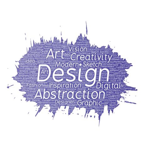 Vector conceptual creativity art graphic identity design visual paint brush word cloud isolated background. Collage of advertising, decorative, fashion, inspiration, vision, perspective modeling Illustration