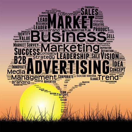 Media business tree at sunset  word cloud Illustration